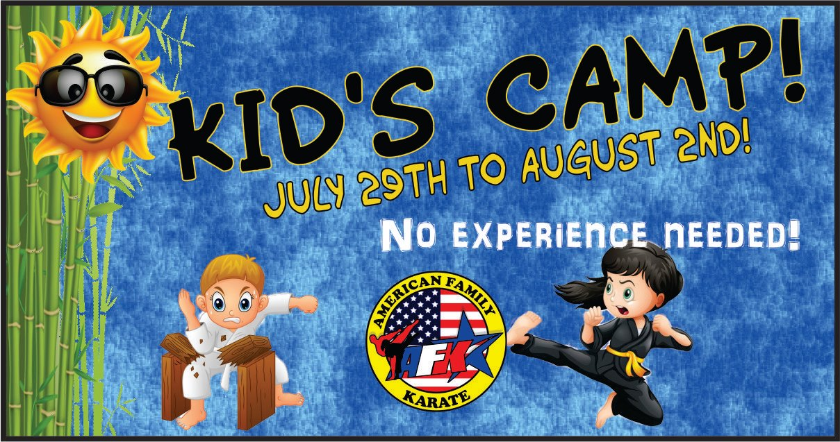 Summertime fun with a 5th-degree black belt and the awesome staff of American Family Karate.  This camp is for children ages 6 to 12 years old.
